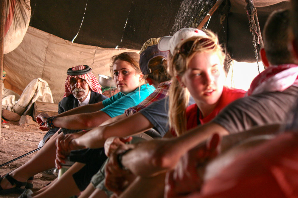 in a Bedouin tent with guests-2