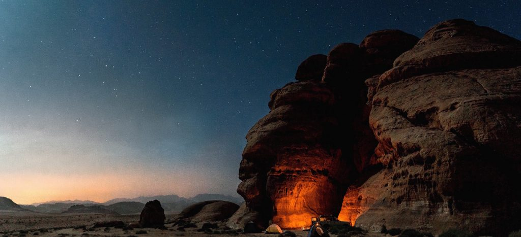camping in the Wadi Rum desert on a private Jordan tour