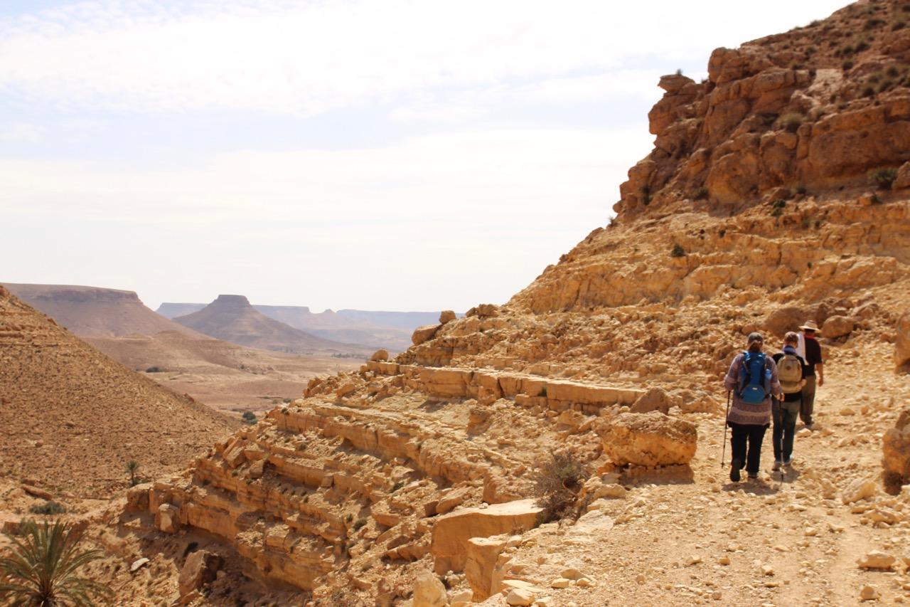 Hiking with a local guide near Chenini Tunisia