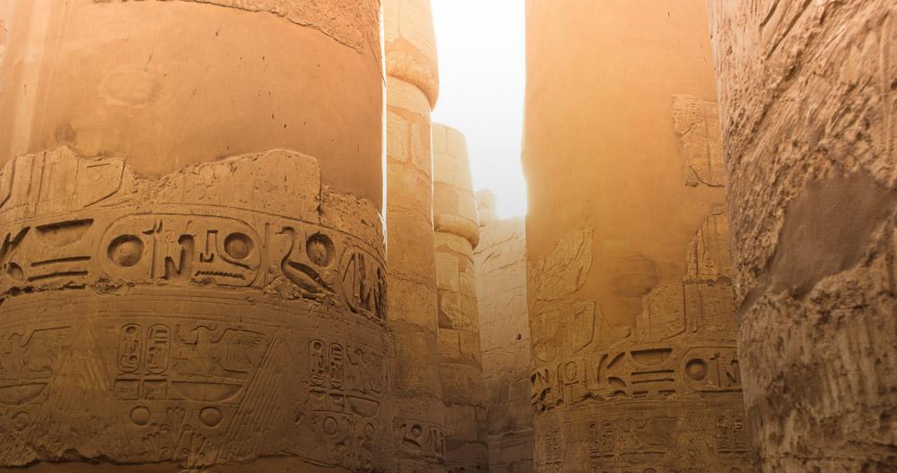 Pillars and sunset on an Egypt tour - @shaylyn.marie