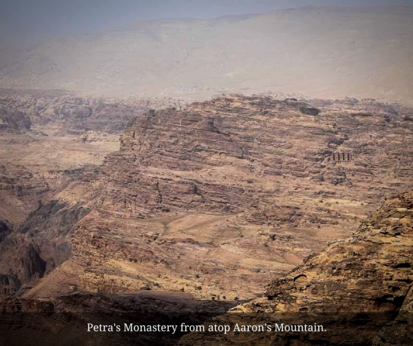 View of the Monastery at Petra from the top of Mount Hor Aarons tomb