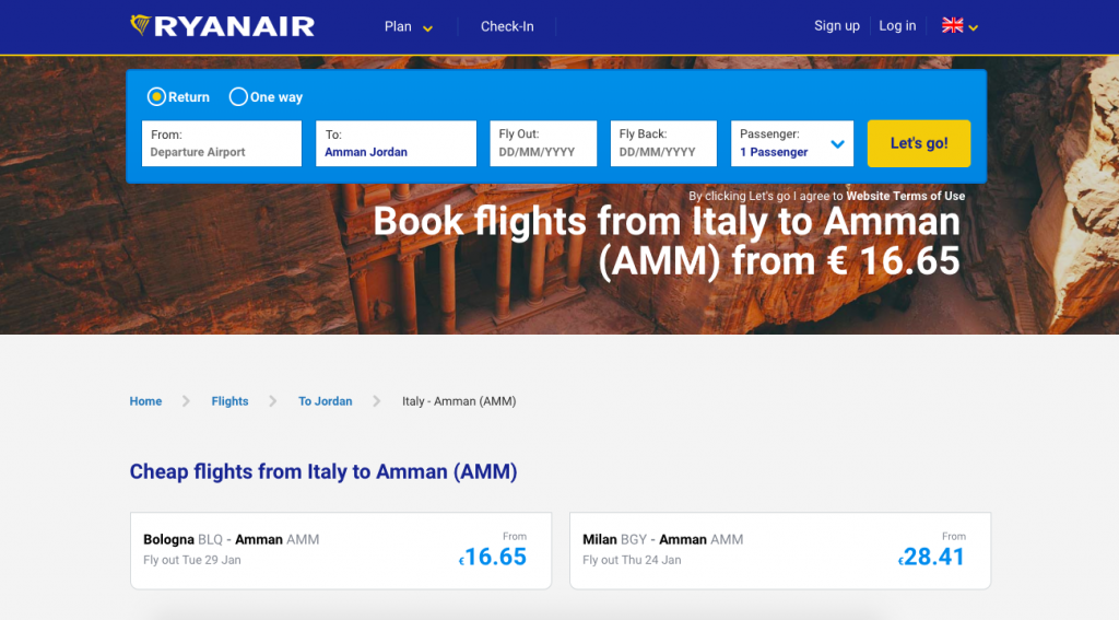 From from Bolona or Milan to Amman Jordan for cheap