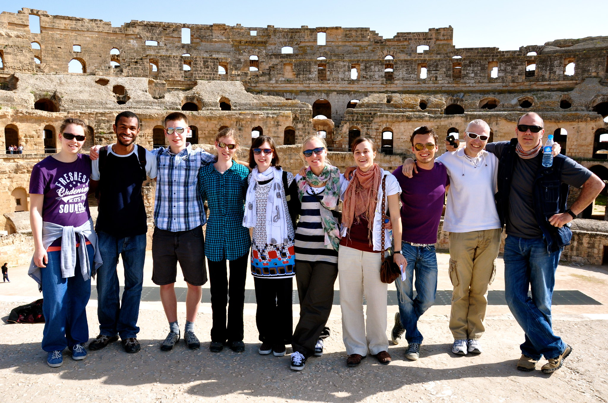 Guys and gals traveling in El Jem Tunisia