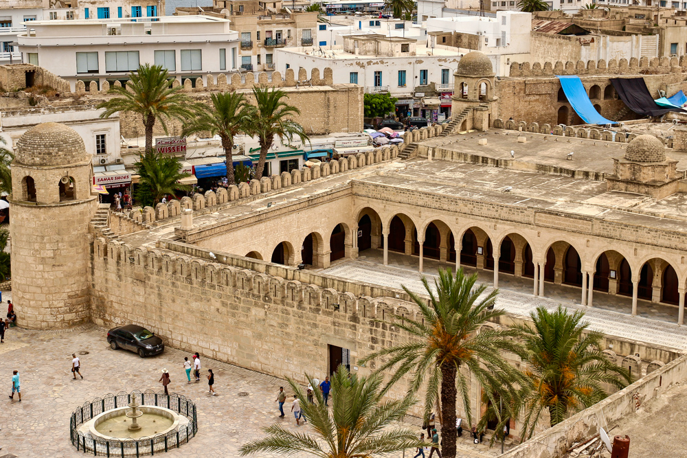 The Sousse Grand Mosque Minaret and Courtyard Viewed From Above
