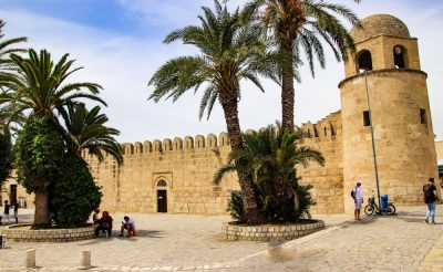 Sousse Grand Mosque with Minaret and Palm Trees