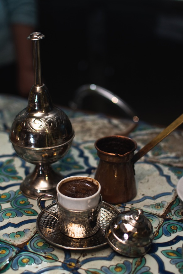 Turkish style coffee served in a traditional pot (zizwa) in Tunisia