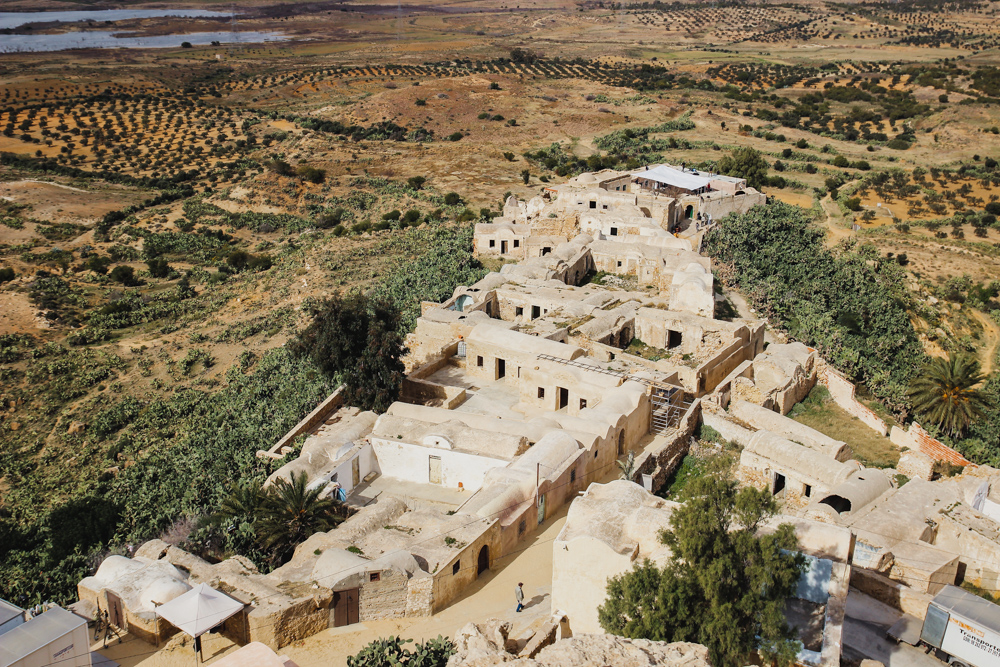 Berber granaries in hilltop village Takrouna, Tunisia