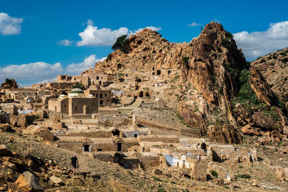 Hiker Approaches Zriba Berber Village
